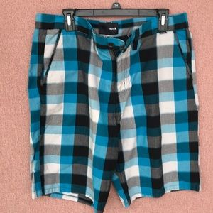 Hurley plaid teal gray cargo board shorts